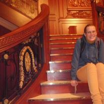 Monika on the Grand Staircase of the Titanic!