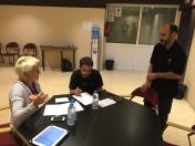 Sylvia, Lobo, and Marcos doing a spot cue sheet pre show!