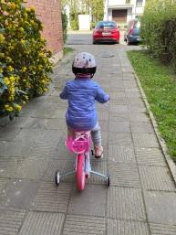 Biking outside house